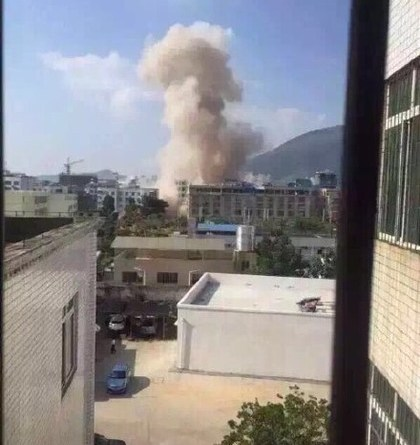 A bomb is seen going off in Liucheng China, September 30 2015. The government has denied a terrorist attack