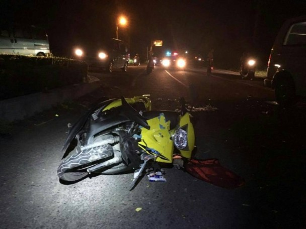 A wrecked scooter after an accident in Pingtung County, Taiwan