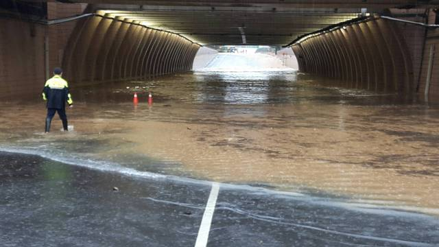 A flooded underpass at Taipei Taoyuan International Airport