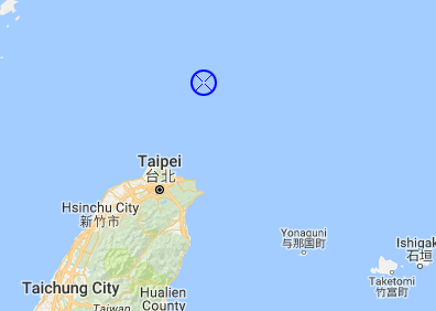 approximate location of ship when it sank a Chinese fishing boat