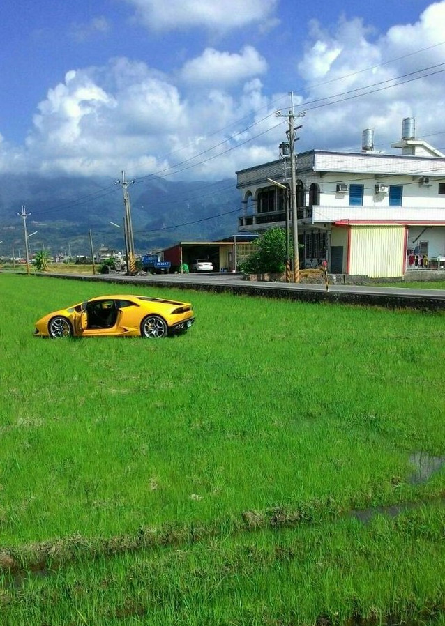 Lamborghini in rice paddy, Ilan County Taiwan, August 10, 2016