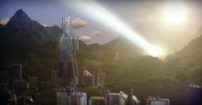 Taipei City sunrise in 2060 as depicted in Thunderbirds are Go! episode 2