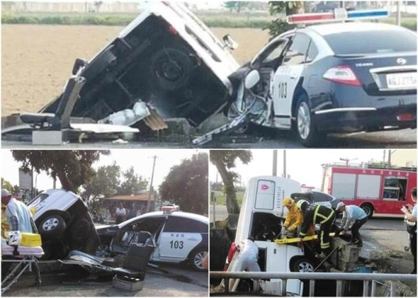 A police car and ambulance after a collision in Chiayi County, Taiwan, November 6, 2016