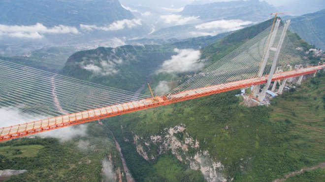 Beipan River Bridge under construction in 2016 the world's highest bridge