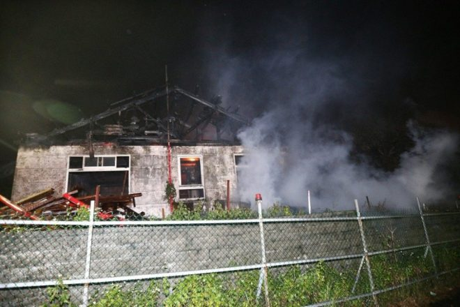 bungalow destroyed by fire on Yangming Mountain