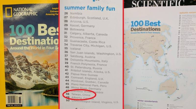 national geographic magazine list including Taiwan as part of China