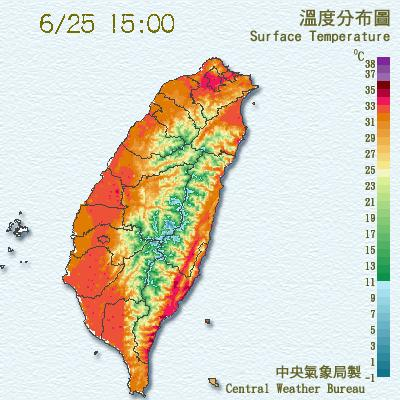 weather map showing high temperatures in Taiwan June 25, 2017