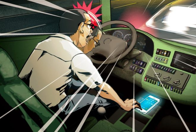 artistic impression of bus driver using phone.