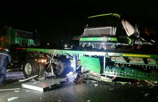 a bus and truck crashed on the national highway