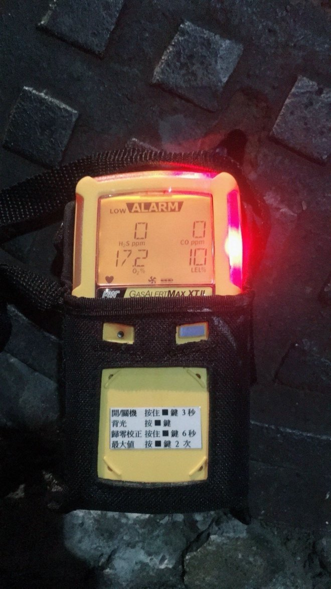 Gas detector showing low oxygen level