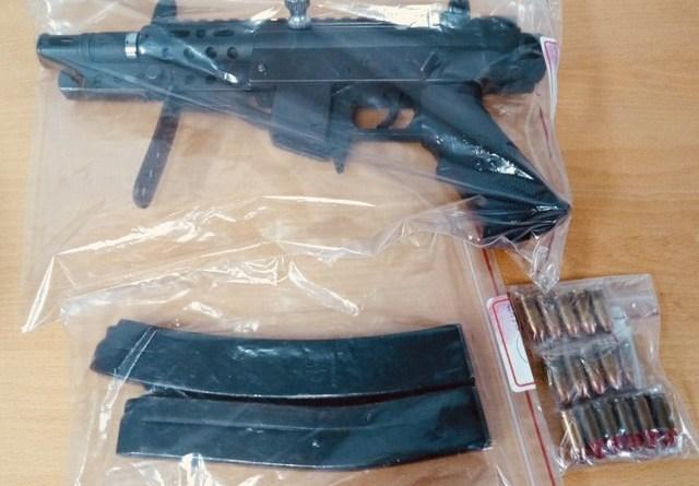 KG-9 submachine gun, magazines, and ammunition