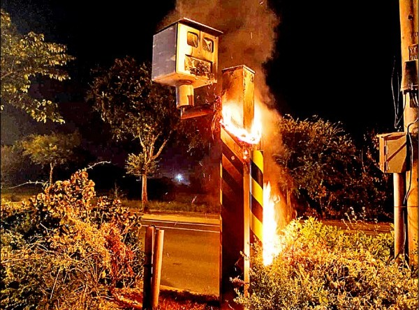 speed camera on fire