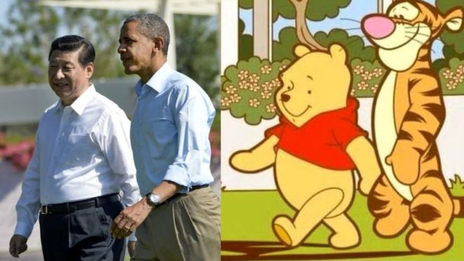 picture of Xi Jinping and Barack Obama compared to Winnie the Pooh and Tigger