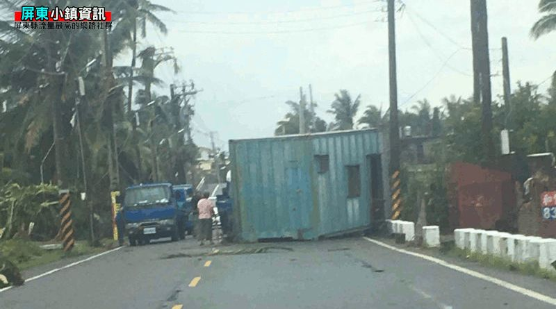 container blown onto road by tornado in Pingtung County Taiwan