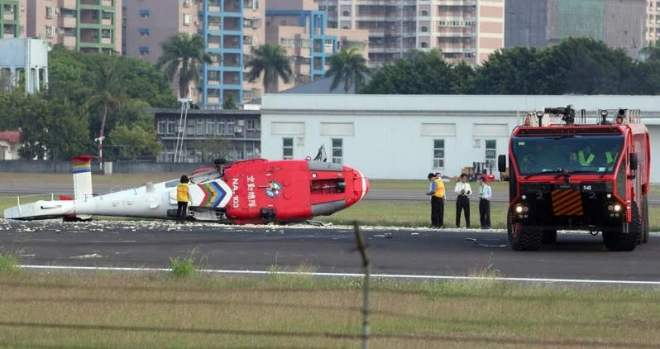 crashed AS-365 helicopter in Kaohsiung City, Taiwan