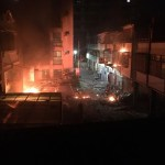 fire after gas explosion in residential building