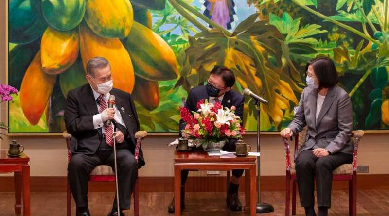 Taiwan President Tsai Ing-wen, and former Prime Minister of Japan Yoshide Mori at the Presidential Office in Taipei 2020