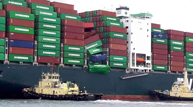 collapsed container stack on Evergreen Shipping's EVER LIBERAL