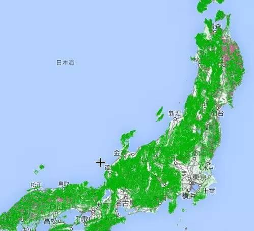 日本本島森林分佈地圖