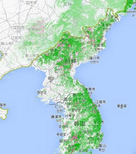 南韓森林分佈地圖