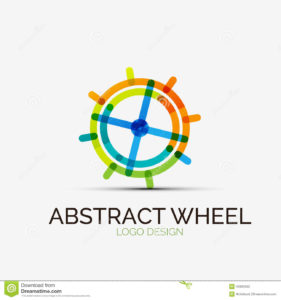 abstract wheel company logo business concept vector icon design symbol minimal line style 438005021
