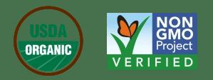 Usda organic certified stamp symbol no gmo