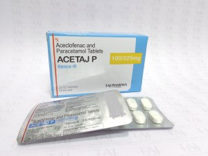Aceclofenac and Paracetamol Tablets BP 100mg/325mg Products in India, exporters, Generic Medicines product, Acetaj PGeneric Manufacturers exporters India, Generic pharmaceutical drugs Exporters, Indian fodder
