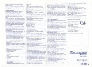 Taj Pharmaceuticals company carries the rich experience in the niche manufacturing of Olanzapine Tablets USP 5mg. Taj Pharmaceuticals is reputed manufacturer and Olanzapine Tablets USP 5mg suppliers in India prefer Taj Pharmaceuticals due to the reliability and purity of products.Taj Pharmaceuticals, the well-known Olanzapine Tablets USP 5mg API manufacturer in India gives the assurance of high-quality and purity. Olanzapine Side Effects, Dosage, Uses, and More