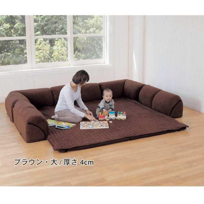 こたつをぐるりと囲むクッションソファー:ベルメゾンネットのダブルコーナークッションセットに心ひかれてやばい (1)