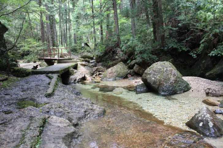 乳岩峡の川の水がきれい過ぎるので川遊び!さらにプチクライミングをしてハイキング (3)