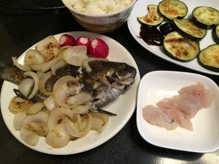 メジナは刺身と塩焼き、ウミタナゴは塩焼き、シタカレイは刺身とムニエルに (1)