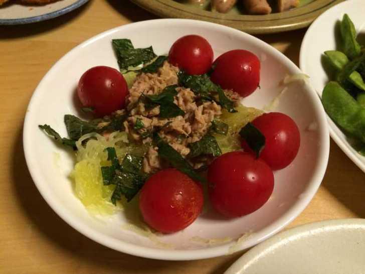 そうめんカボチャ(金糸瓜)をツナサラダにしたらさっぱりで美味しかった件について (3)