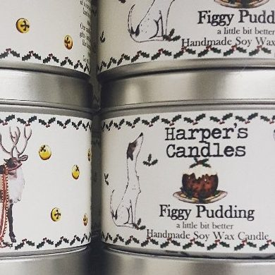 vegan geurkaars Figgy Pudding van Harper's Candles