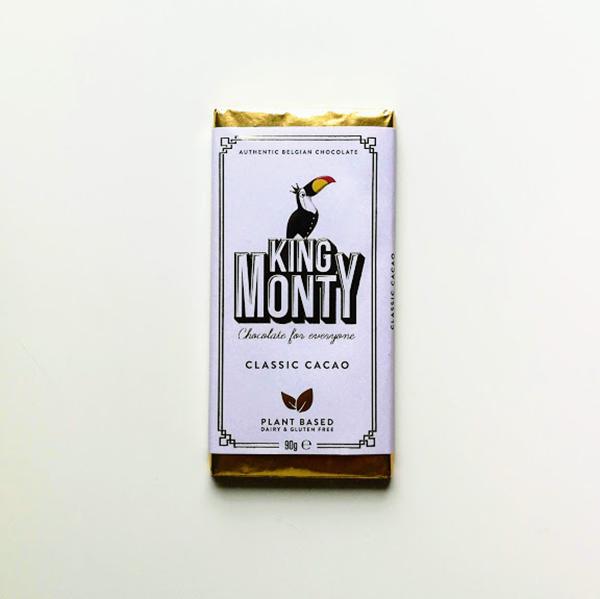 King Monty Classic Cacao, 90gr vegan belgische chocolade