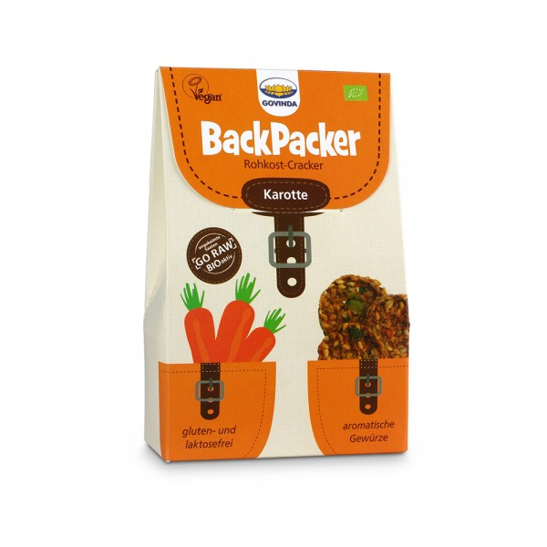 glutenvrije crackers Govinda Backpacker carot 80gr