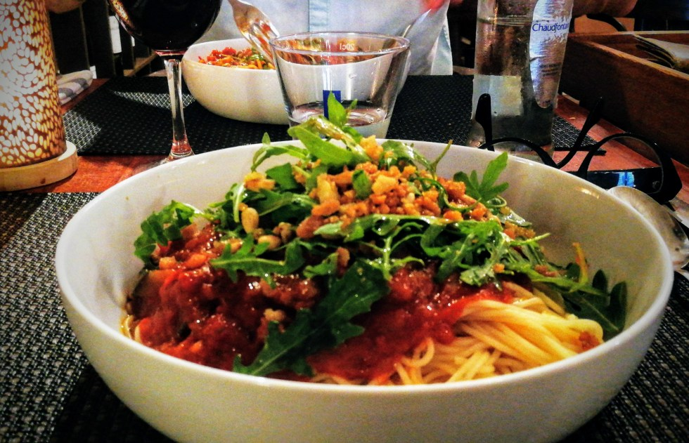 vegan spaghetti bij Bistro Mareine, Astene Deinze