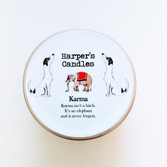 vegan geurkaars Karma van Harper's Candles