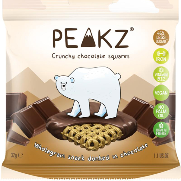 peakz crunchy chocolate squares vegan koekjes 32gr