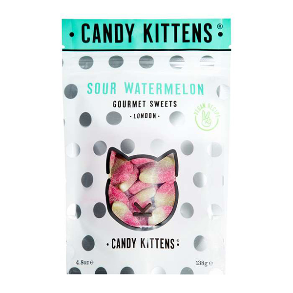 candy kittens sour watermelon vegan snoep 138gr