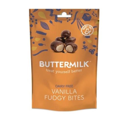 buttermilk vanilla fudgy bites vegan chocolade snack 100gr
