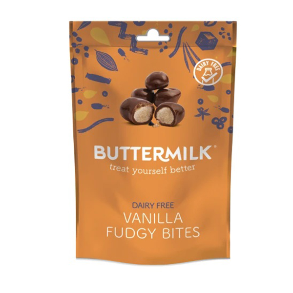 buttermilk vanilla fudgy bites vegan chocolade snack 100gr