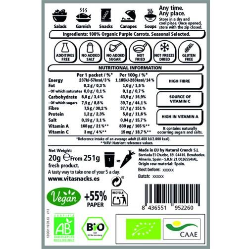 vitasnack purple carrot crunch raw food vegan 20gr
