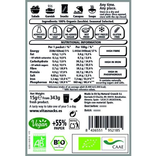 vitasnack zucchini crunch raw food vegan 15gr
