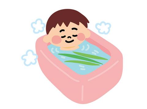 お風呂の湯船につかっている人