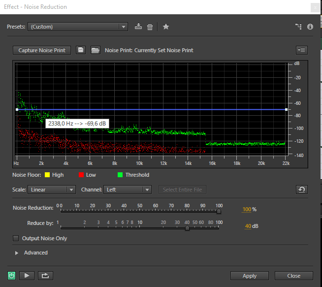 menu noise reduction di adobe audition