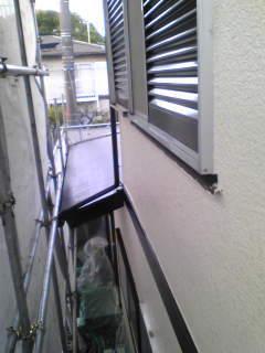塗装現場足場の上から撮影