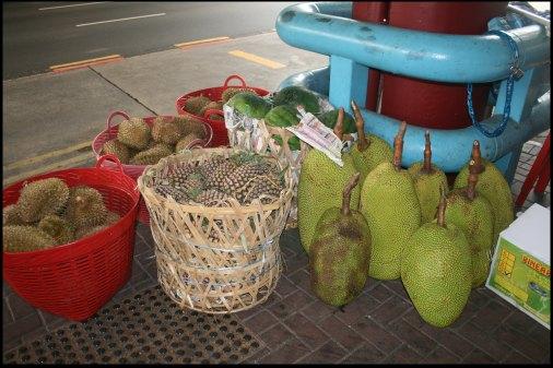 Durians, pineapple, watermelon & HUGE Jacks Fruits
