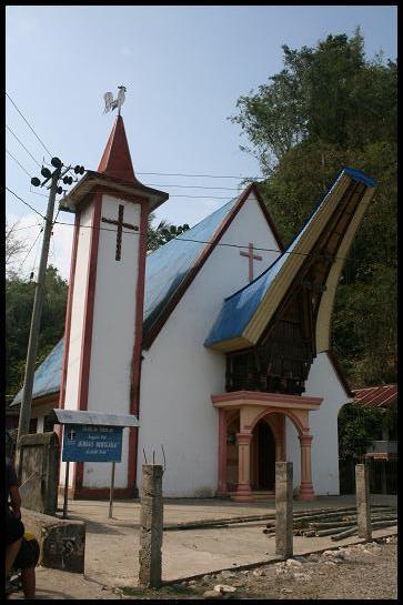 Mix of church and toraja house