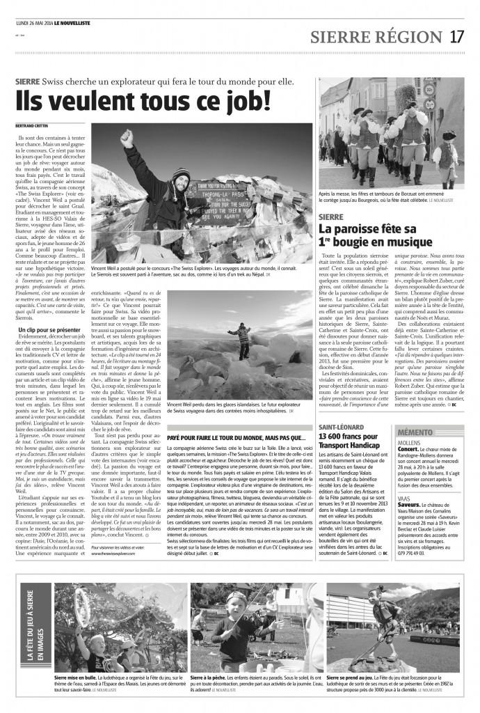 Vincent Weil Nouvelliste Swiss Explorer