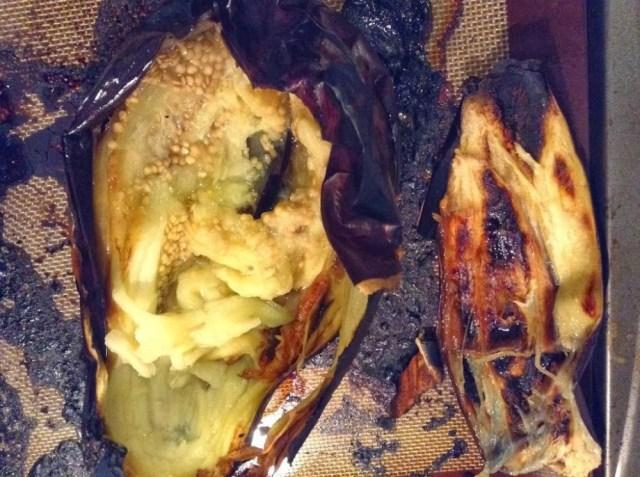 Burnt Eggplant with Garlic, Lemon and Pomegranate Seeds for #SundaySupper